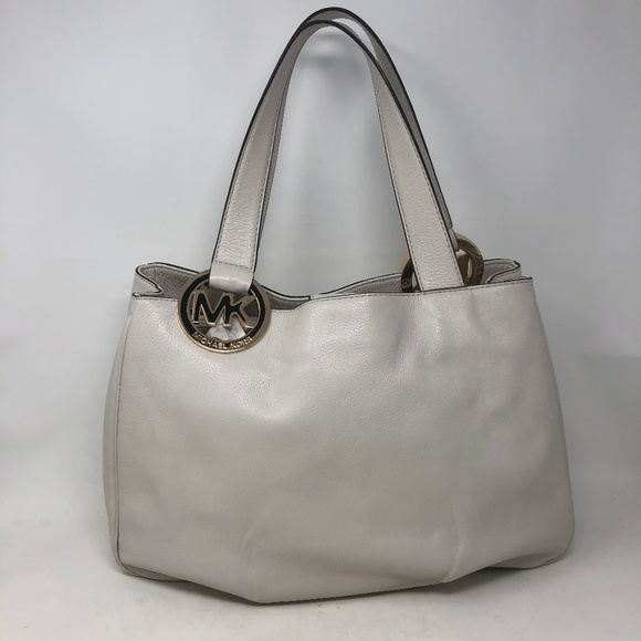 Michael Kors Handbags - Michael Kors Ivory Leather Large Purse Tote Bag